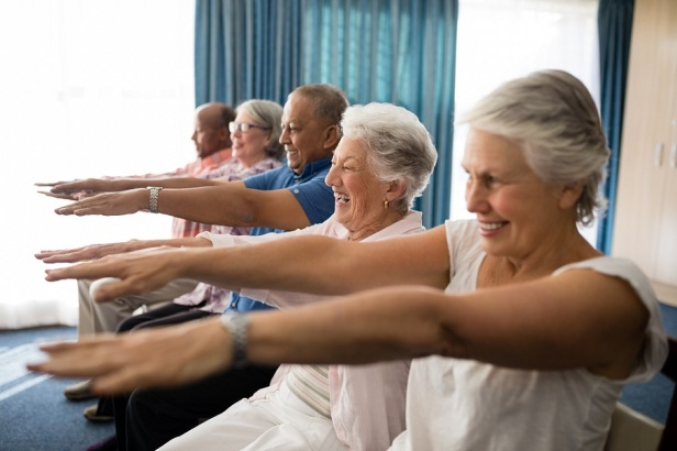 elderly group exercising- small